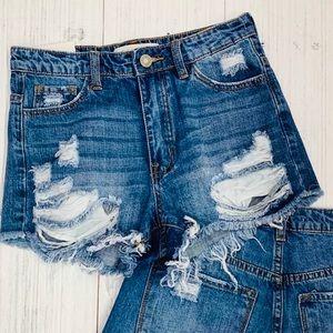 High Waist Destructed Denim Cut Off Shorts
